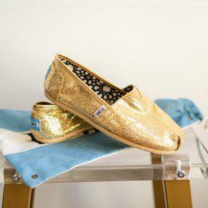 Toms Classic Glitter Women's Flats Gold 7 EUC Flat